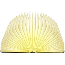 Lixada Libro Lampada Luce LED di legno Pieghevole Luci Booklight Decorative Lampada da Tavolo,Big Size,2500mAH,4.5W,500 Lumens Maggiore Luminosità