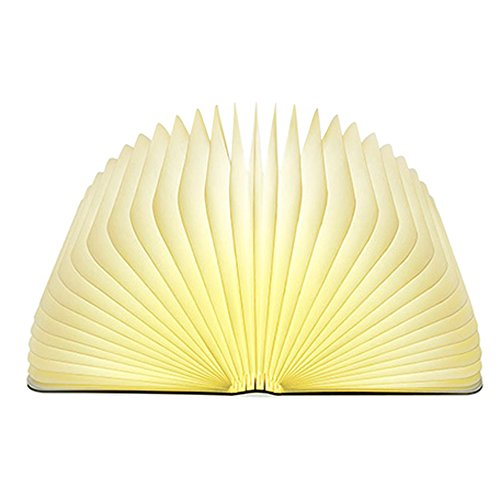 Lixada Libro Lámpara LED Luces Plegables de Madera, Booklight Decorativa Lámpara de Mesa, Tamaño Grande, 2500mAh, USB Recargable, 500 Lúmenes Brillo Mejorado