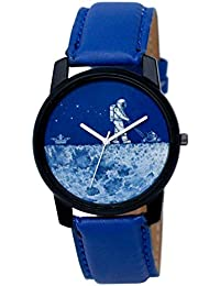 Shocknshop Casual Blue White Dial Leather Strap Analog Watch For Men/Boys- (LD07)