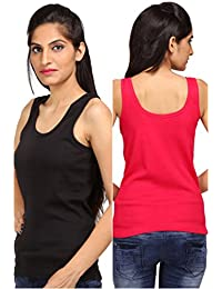 ALBATROZ Cotton T Back Ladies Plain Spaghetti Tank Top Vest Camisole Sando for Women Combo of 2 Black and Red (Free Size)