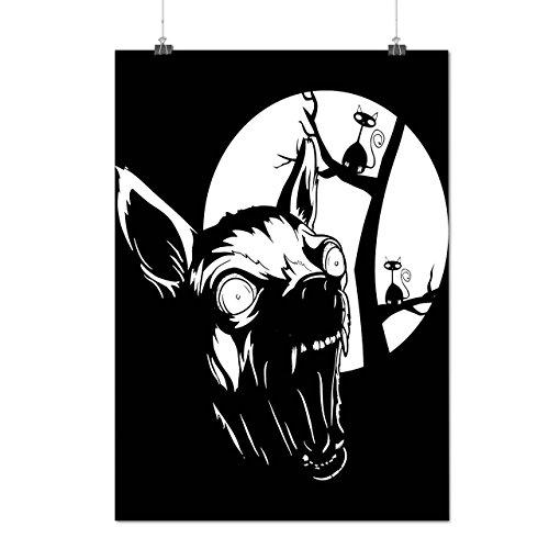 Böse Hund Welpe Horror Wild Nacht Mattes/Glänzende Plakat A3 (42cm x 30cm) | Wellcoda
