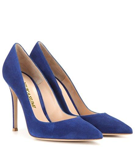 EDEFS Damenschuhe Faschion Elegante 100mm Spitz Standard Office Partei Abschlussball High Heel Pumps Schuhe Dark-Blau