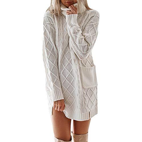 Damen Kleid, Sunday Frauen Winter Strickkleid Rollkragenpullover Mode Bodycon Minikleid (Weiß-2, S) Winter Weißen Kleid