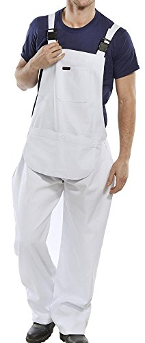 Click Cotton Drill Painter Bib & Brace Overall White - 36 (Bib Ltd)