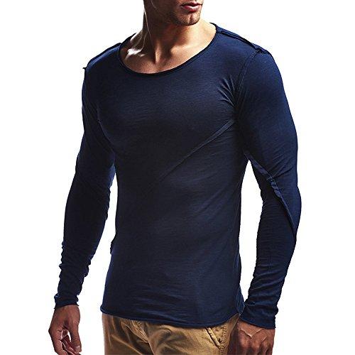LANSKIRT Oberteile Mode Herren Herbst Reine Farbe Joint Lose Langarm Sweatshirts Top Bluse M-3XL