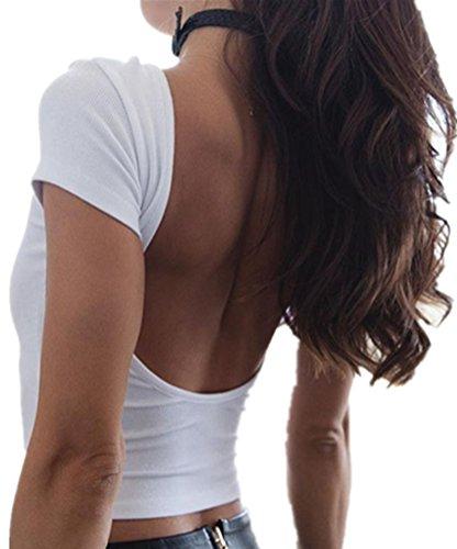 Blansdi Damen Sommer T-Shirt Oberteile Rundhals Rückenfrei kurze Ärmel Beiläufig Stretch Basic Shirt Weste Crop Tops Bluse Schwarz Weiß Weiß