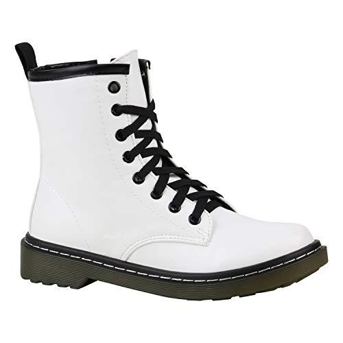 Stiefelparadies Geschnürte Damen Worker Boots Profil Sohle Stiefel Stiefeletten Weiss 38 Flandell