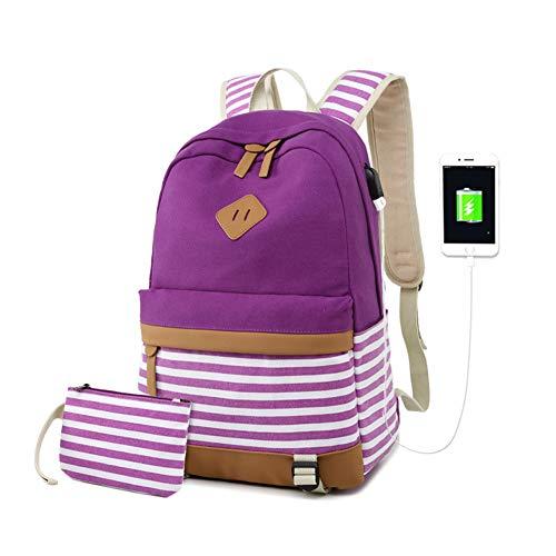 Zaino Donna Borsa Viaggio Canvas Rucksack Ragazze Adolescenti Scuola Studente Università 15.6 Pollici Laptop Notebook Taccuino Women USB Backpack Girls Travel Casual Bag Daypack Piccolo (5-Viola)