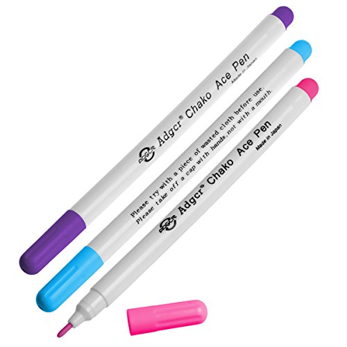 3 x Stoff - Trickmarker / Markierstifte in verschiedenen Farben (wasserlöslich)