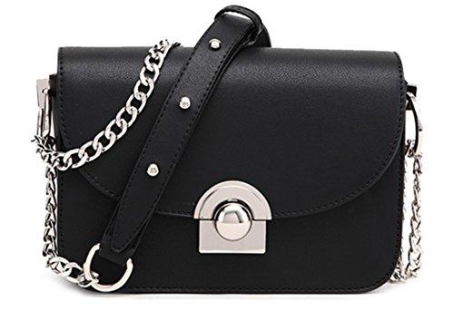 Ghlee PU ledernerne Mode Kleine quadratische Umhängetasche süße Handtasche Kuriertasche mit Metallkette Für Damen und Mädchen (schwarz)