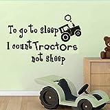Berühmte wandaufkleber Zum Schlafen gehen Ich Zähle Traktor Nicht Schafe Wandaufkleber Cartoon Stil Für Kinderzimmer Schlafzimmer Baby Poster Tapete Dekoration 57x385 cm
