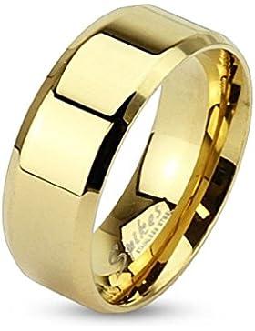 Bungsa® Goldener Ring klassisch Edelstahl mit abgerundeten Kanten für Damen & Herren 49-70 (Fingerring Schmuckring...