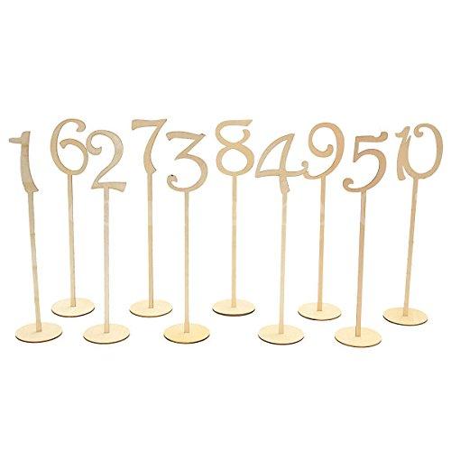 Holz 1-10Tisch Nummer Rustikal Vintage Hochzeit Geburtstag Party Tisch Name Tischkarte Aufsteller