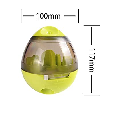 Pet Food Ball, FUN and INTERACTIVE Treat, Dispensing Ball for Dogs & Cats, Increases IQ and MENTAL Stimulation, Best Alternative to Bowl Feeding (Green) from Ynredee