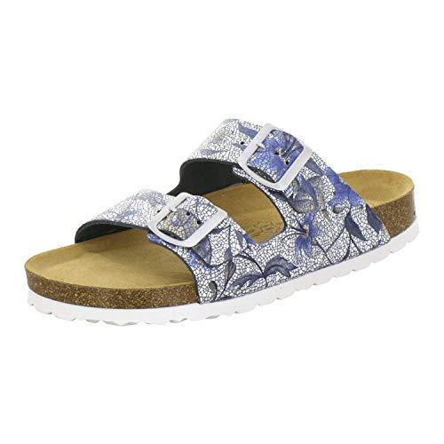 AFS-Schuhe 2100, Bequeme Damen Pantoletten echt Leder, praktische Arbeitsschuhe, Hausschuhe, Handmade in Germany Größe 43 EU Blau (Marine/Flower) -