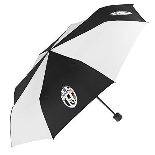 Ombrello Pieghevole Juventus FC - Ombrello Mini Juve - Leggero e Compatto - Stemma Ufficiale - Bianco e nero - Diametro 98 cm