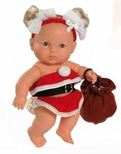 Paola Reina Jana, muñeca de Vinilo, Vestido en Papá Noel 22 cm (01126), Multicolor