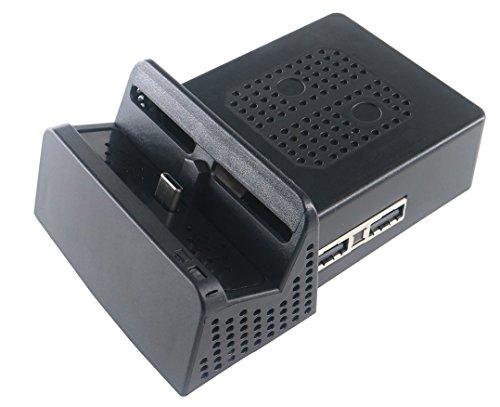 J & Top Tragbarer DIY Ersatz Dock Mount Fall für Nintendo-Schalter, schwarz (nur der Fall)