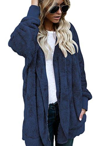 Manteau Femme Hiver Hoodie Veste Polaire Blouson Fourrure Gilet Chaud Jacket Cardigan à Manches Longues Tops Hauts Blue XXL