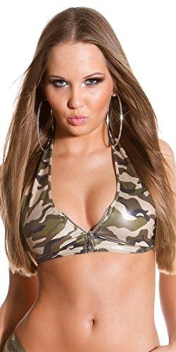 Gogo Hotpants Top im Army Look Einheitsgröße für 34-38 (One Size, Anabell Army)