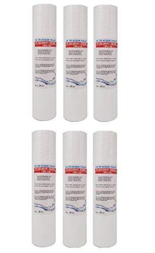Cartouche pour filtre à eau en polypropylène à sédiments 25,4 cm, 1 micron pour osmose inverse, purificateur d'eau, 6 pièces