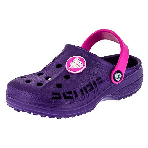 2 Surf Kinder Clogs Badeschuhe Sandalen für Jungen und Mädchen in Vielen Farben M211lipi Lila Pink 31