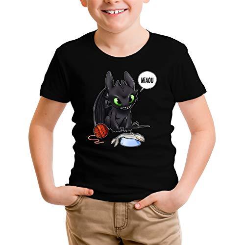 Okiwoki Maglietta per Bambini e Ragazzi Nera Dragon Trainer umoristico con...