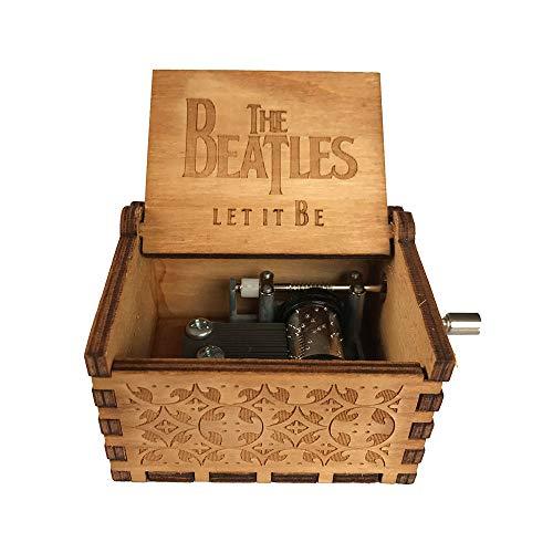 Kreatives Thema Holzschnitzerei Spieluhr, Retro Holz Antik Handkurbel Spieluhr Frohe Weihnachten Thema Handwerk Geschenk size The Beatles (Spielen Beatles)