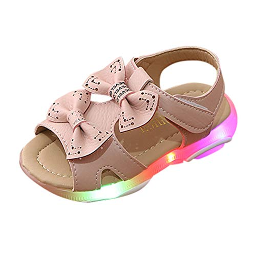 Sandalen für Baby Mädchen - LED Light Luminous Sandalen - Fashion Sneaker - Blume Bowknot Prinzessin Leuchtend für Kinder Rutschfester Sohle für Babys Atmungsaktiv Strandschuhe 21-30 EU(Rosa,24 ()