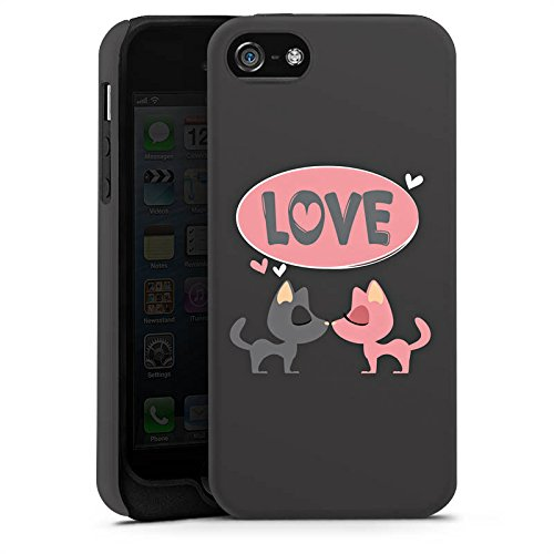 Apple iPhone 5 Housse Étui Protection Coque Amour Phrase Embrasser Cas Tough terne