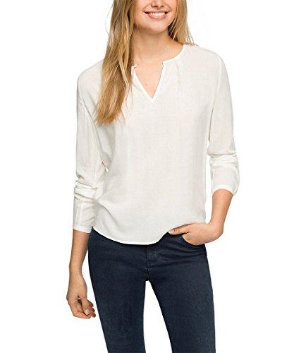 ESPRIT fließend - Blouse - coupe droite - Manches Longues - Femme - Blanc (off White 110) - 46 (Taille fabricant: 44)