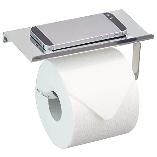Acero inoxidable sostenedor de papel higiénico dispensador de rollo de papel soporte suspensión de la toalla de montaje en pared con el teléfono móvil de almacenamiento estante de baño Lavabo Ino