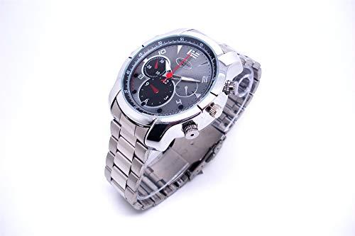 8 Gb Spy Watch (CATLXC Smart Watch Spy Watch + 8 GB / 16 GB / 32 GB HD Versteckte Kamera Outdoor Sports Kamera Uhr Multifunktions U Disk USB-Schnittstelle Edelstahlband Grau,Gray,32G)