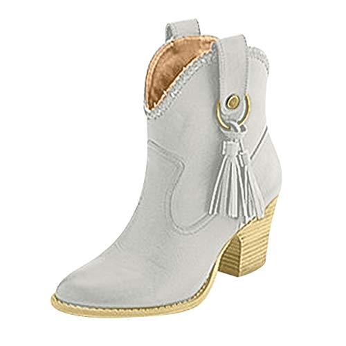 BaZhaHei Damen Mode Stiefel Vintage Boots Fransen Booties Größe Ritter High Heel Damenmode Schuhe Keilabsatz Halbhohe Winter Schuhe Stiefeletten mit Blockabsatz Profilsohle (35, Grau) -