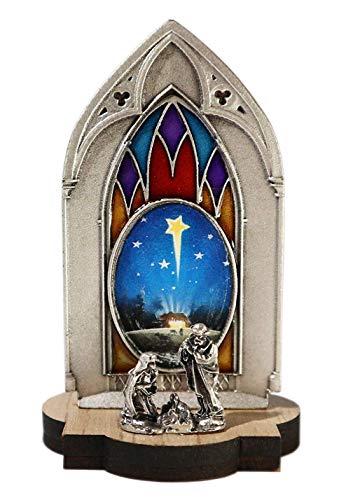 Presepe gotico con immagine - natività miniatura originale da collezione placcato argento con base in legno - decorazione natalizia