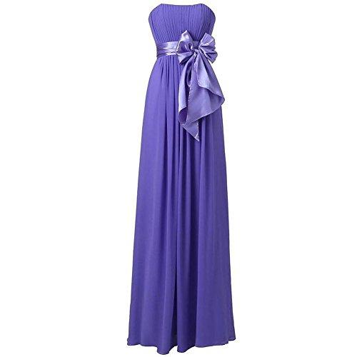 Frauen Abend Kleid Lange Hochzeits Partei Brautbrautjunfer Geburtstags Abschlussball Bankett Bogen Knoten Chiffon Kleider . Purple . Us14 (Abschlussball Kleider Lang Größe 11)