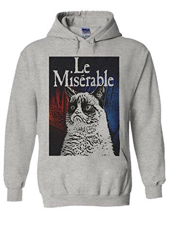 PatPat Store Les Le Miserable Grumpy Cat Novelty Grey Men Women Unisex Hooded Sweatshirt Hoodie-XL