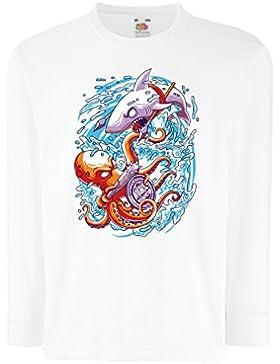 lepni.me T-Shirt bambini/Ragazze per governare i Mari, Battaglia nell'oceano, Polpo Contro Squalo, Abiti Marini