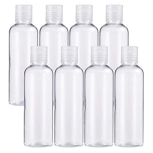 Benecreat 8 pack 200ml bottiglie trasparenti contenitori in pet di plastica vuoti per detergenti per il viso sapone per mani, bottiglie ricaricabili e portatili