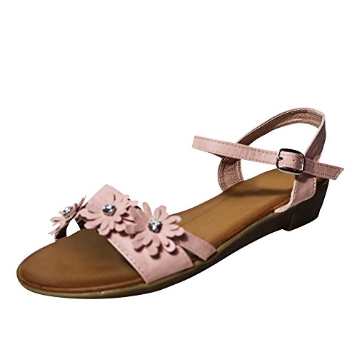 Damen Sandalen Sandaletten Blumen Keilabsatz Zehentrenner ST42 Pink/Rosa