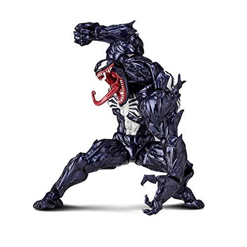 Wen Zhe Avengers Venom Handmodell Spielzeug Schwarzes Spider-Man-Gelenk Bewegliche Puppe mit mehreren Passformen Puppe Spielmodell (Spider Man Schwarz)