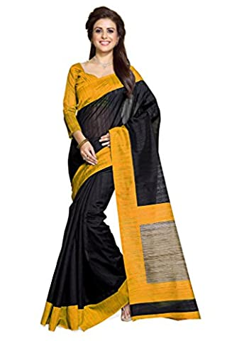 Mirchi Fashion Women's Black And Mustard Art Silk Casual Wear