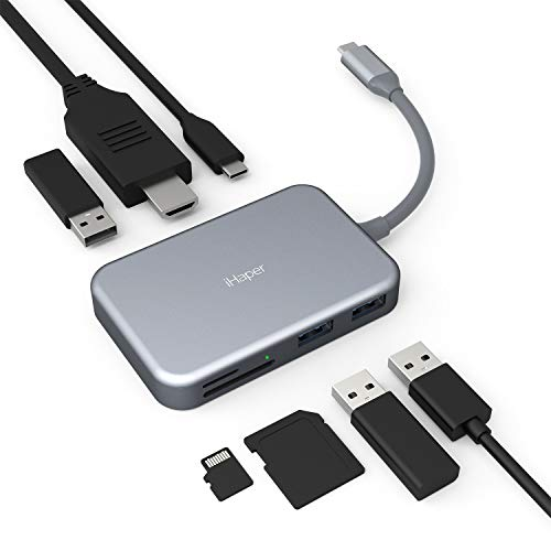 iHaper USB C Hub, 7 in 1 Tye C Adapter mit HDMI 4K-Ausgang,60W USB C Power Delivery, 3 USB