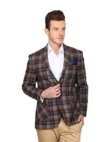 Dk. Brown Check Slim Fit Blazer 44  available at amazon for Rs.1699