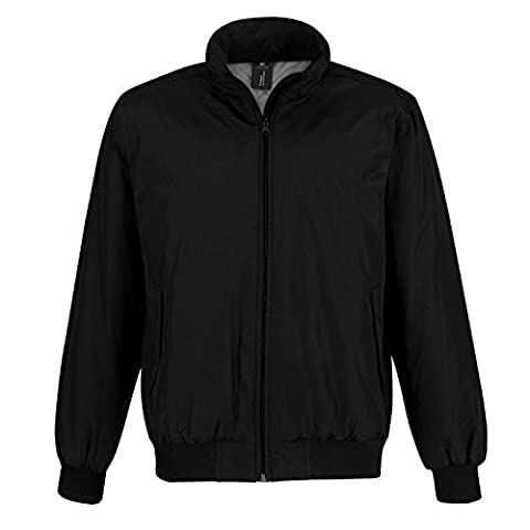 Men's Jacket Crew Padded Waterproof (5000mm) Bomber B&C Collection Windproof 100% Polyester (Large, Black/ Warm Grey Lining)