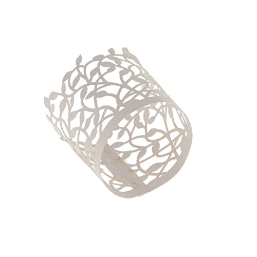 20pcs Papier Etuis Porte-lumière à Bougie LED Motif Feuilles Découpé Décoration Fête Mariage - Blanc