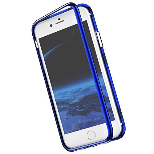 Herbests Kompatibel mit iPhone XR Spiegel Handyhülle Magnetische Adsorption Eingebauter Magnet Funktion Metall Bumper Rückseite Durchsichtig Klar Case Tasche Stoßfest,Blau