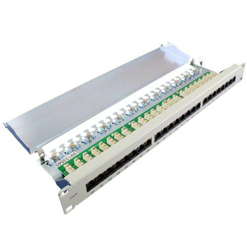 Preisvergleich Produktbild Patchpanel Cat6 24-fach RJ45 LSA - vollgeschirmt + Stahlblech Gehäuse + Netzwerk Patch Panel 1HE 48