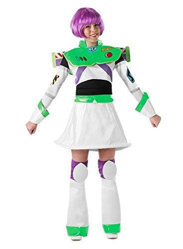 Damen 5 Stück Deluxe Disney Toy Story Buzz Lightyear Mit Kostüm Perücke Outfit UK 8-18 - Multi, (Uk Story Erwachsene Kostüme Toy)