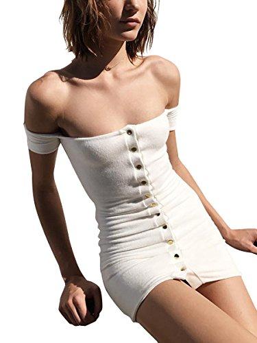 Simplee Apparel - Robe - Moulante - Femme Blanc